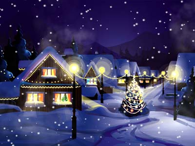 Click to view Christmas Snowfall Wallpaper screenshots