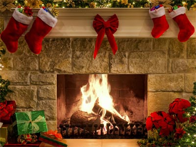 Screenshot of New Year Fireplace Screensaver