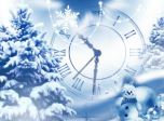 New Year Clock Screensaver - Snowfall Clock