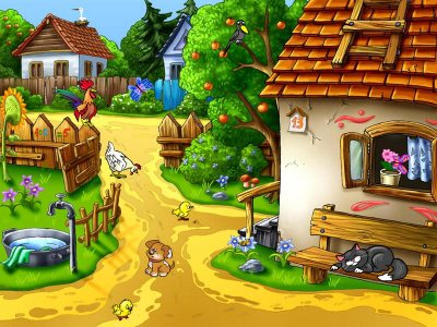 sunny village, free screensaver, cartoons, nature screensaver, animals