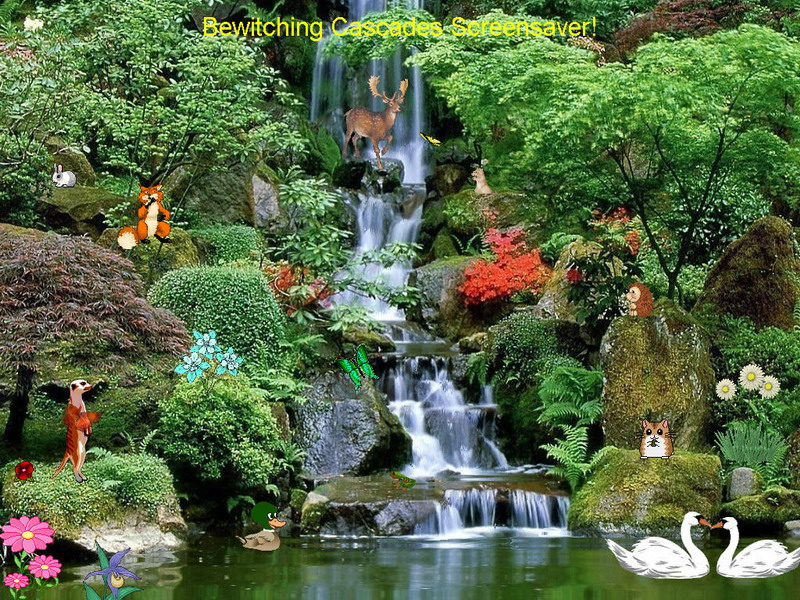 Bewitching cascades free waterfalls screensavers - Garden screensavers free ...