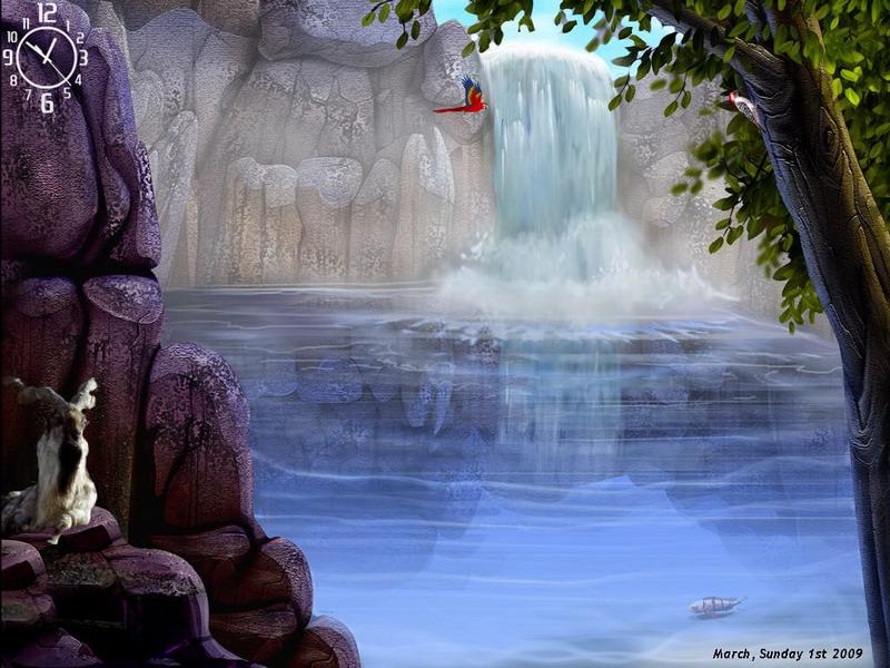 Free Living Waterfalls 3d Screensavers : Tlanlumti